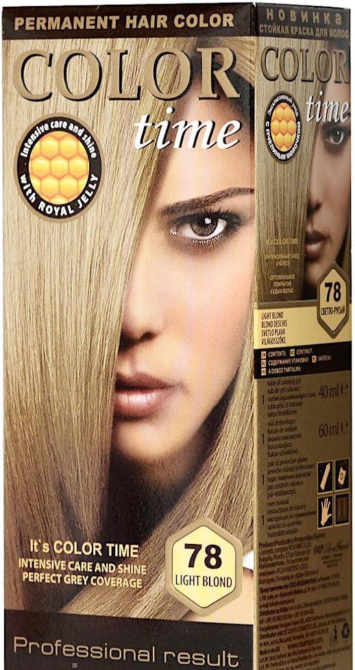 Color time, tinte permanente para el cabello de color rubio ligero 78