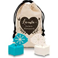 LOVENTA Premium Sockenklammern für Waschmaschine - 2 Jahre Zufriedenheitsversprechen - inkl. hochwertigem Baumwollsäckchen - Unfassbar strapazierfähiges Material - Sockenclips in höchster Qualität