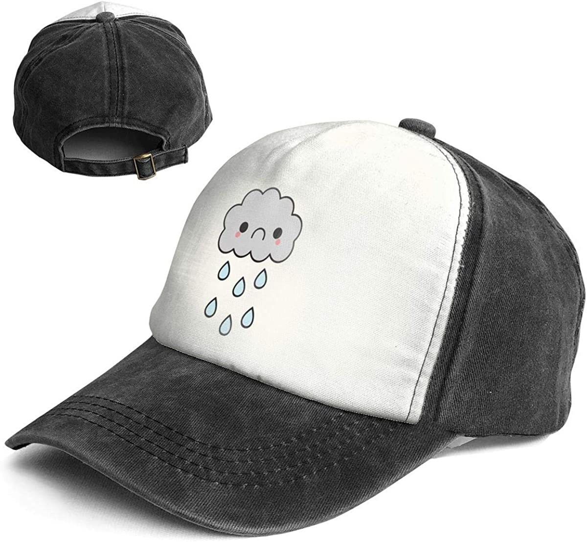 Cute Sad Rain Cloud Trend Printing Cowboy Hat Fashion Baseball Cap for Men and Women Black and White