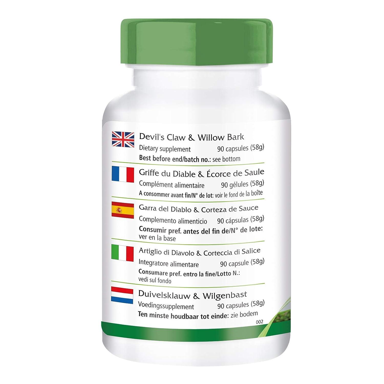 Garra del Diablo y Corteza de Sauce - VEGANO - 90 cápsulas - 1,2% y 15% harpagosidos salicina - Harpagofito: Amazon.es: Salud y cuidado personal