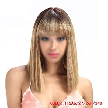Womens Synthetic Hair Wigs For Black Women 14 Inch Blonde Wig Short Straight Hair Wig Heat