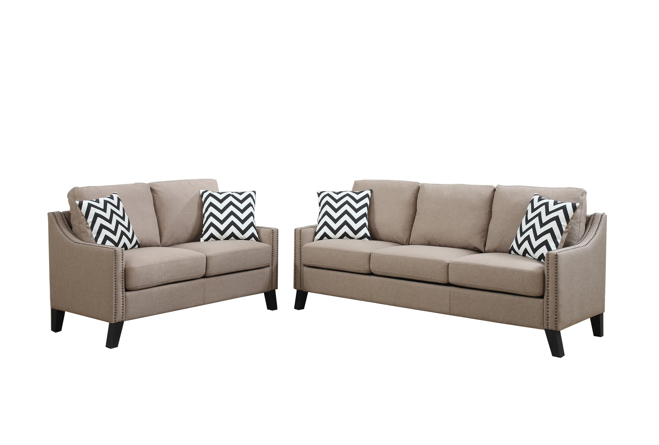 Poundex F6908 Bobkona Debora Linen-Like 2 Piece Sofa and Loveseat Set, Sand by Poundex