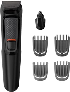 Philips MULTIGROOM Series 3000 Cara 6 en 1 MG3710/15 - Afeitadora (Negro, Rectángulo, Barba, Oído, Ceja, Nariz, Acero inoxidable, 60 min, Integrado): Amazon.es: Salud y cuidado personal