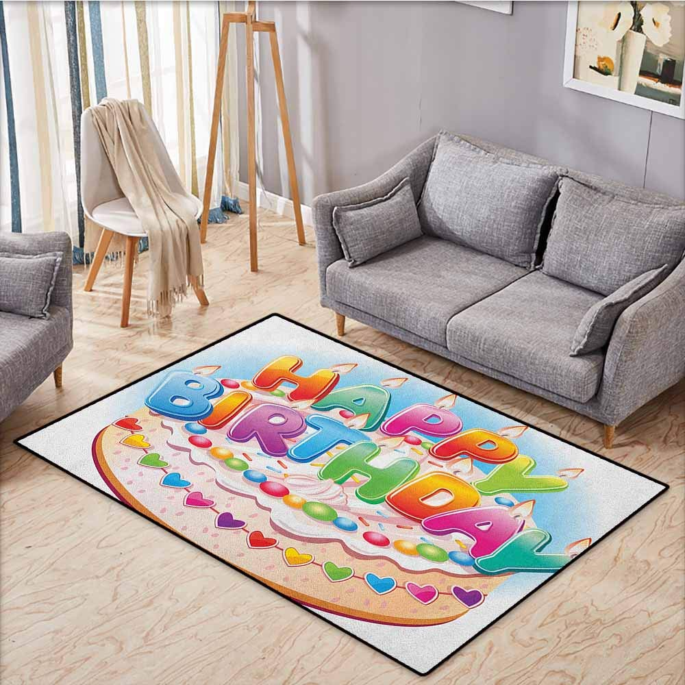 Large Door mat,Kids Birthday,Cartoon Style Happy Birthday Party Image Cake Candles Hearts Design Print,Rustic Home Decor,4'11''x7'10'' Multicolor