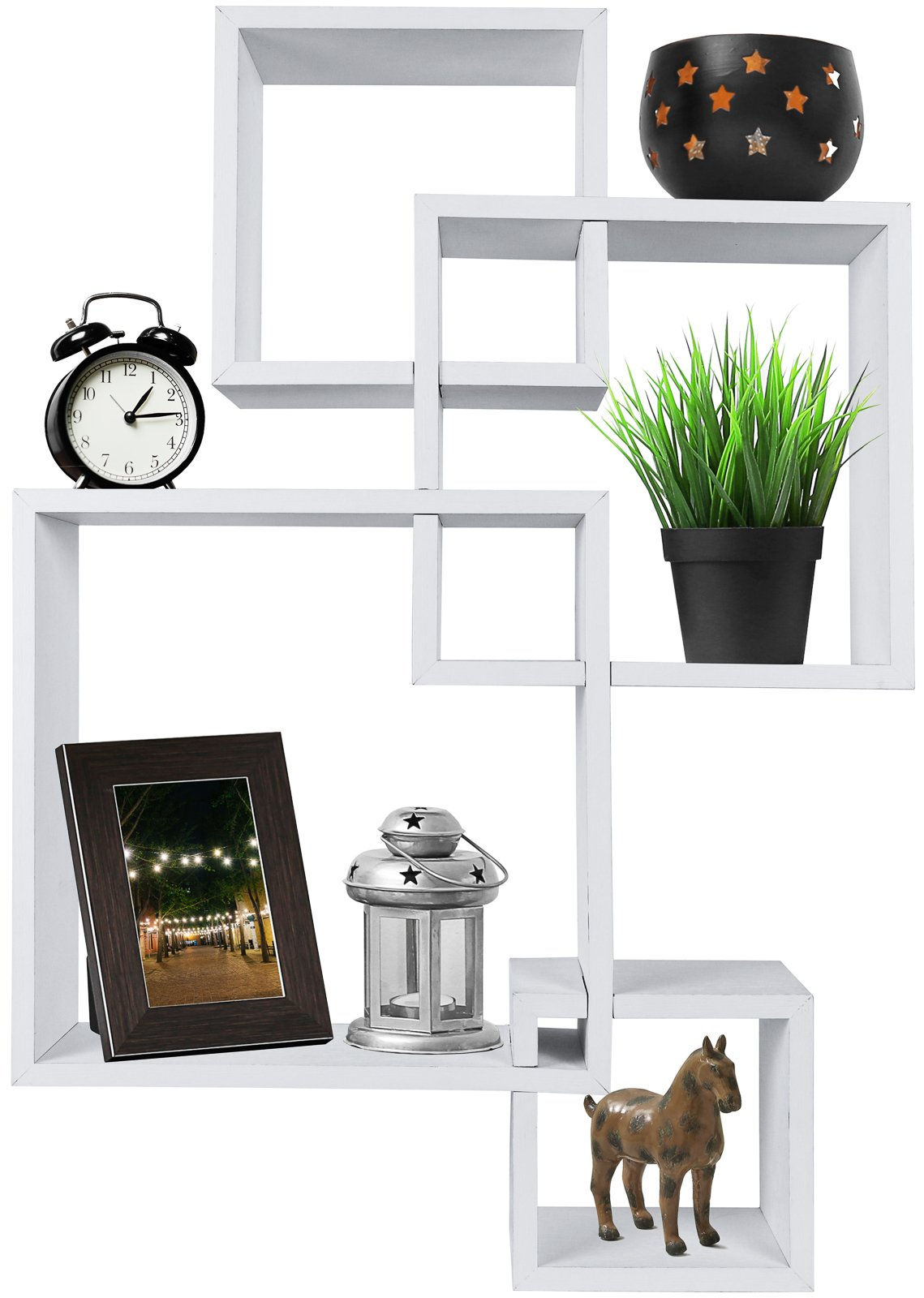 Greenco Decorative 4 Cube Intersecting Wall Mounted Floating Shelves- White Finish - Decorative intersecting floating shelves Made of durable MDF laminate. Beautiful White finish that suits almost any decor. Easy to mount with all necessary hardware Included. Hardware is not visable when mounted - wall-shelves, living-room-furniture, living-room - 71p1bOkt4PL -
