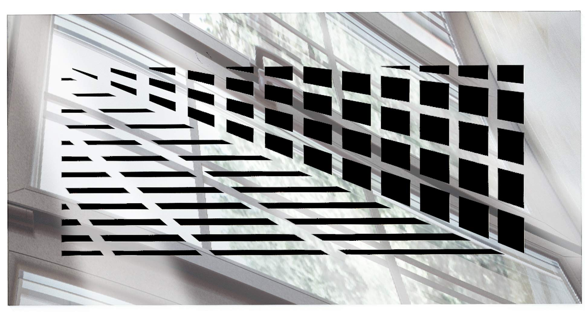 SABA Air Vent Covers Register - Acrylic Fiberglass Grille 14'' x 6'' Duct Opening (17'' x 9'' Overall) Silver Mirror Finish Decorative Cover for Walls and Ceilings (not for Floor use), Vivian
