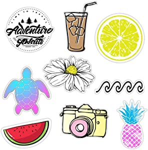 KRAFT'D Cute Beach Sticker Packs, Great Accessories for Waterproof Water Bottle Stickers, Laptop, Hydro Flask Stickers, Phones, Ocean Flower Sea Designs Proudly Made in Huntington Beach California