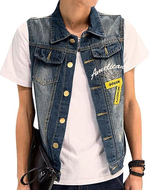 Hombre Chaqueta Chaleco Vaquero De Sin Manga Outwears Slim Jeans Denim Jacket: Amazon.es: Ropa y accesorios