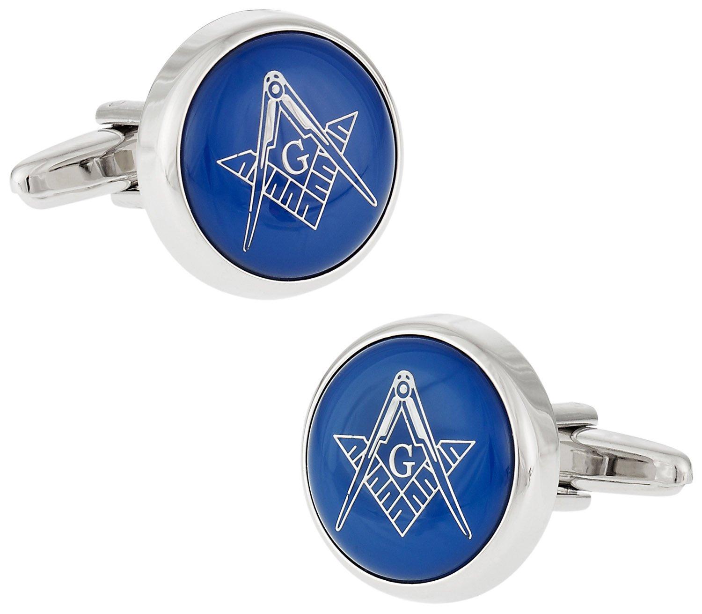 Cuff-Daddy Blue Masonic Freemason Round Cufflinks with Presentation Box