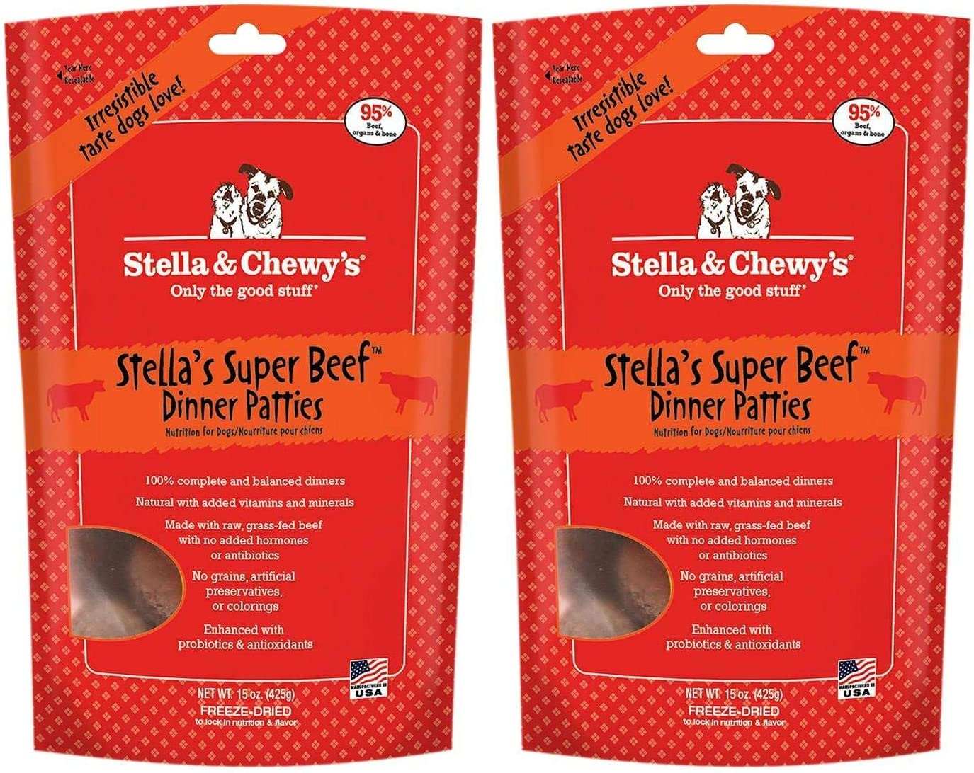 Stella & Chewy's Freeze Dried Dog Food for Adult Dogs, Beef Dinner, 15 Ounce Bag