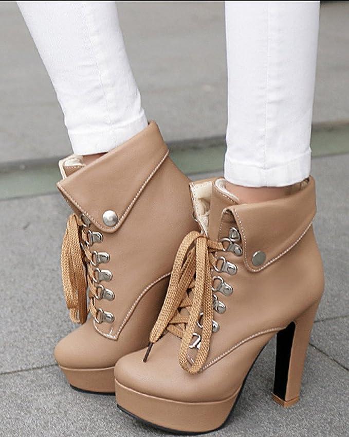 Minetom Femme Automne Hiver Bottes Boots Mode Talons Haut Bottes Lacer Martin Bottes Stylet Chaussures kZnaSQtWh