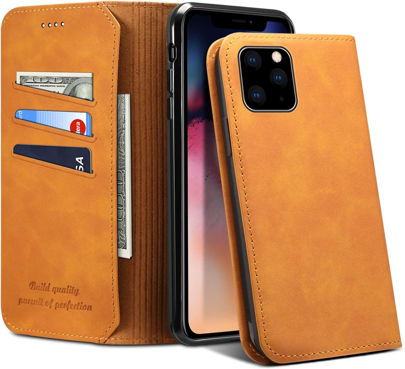 Credit Card Cover Case for Apple iPhone 11 Pro,Soft Leather Protective Fashion Folio Magnetic Closure Light Wallet
