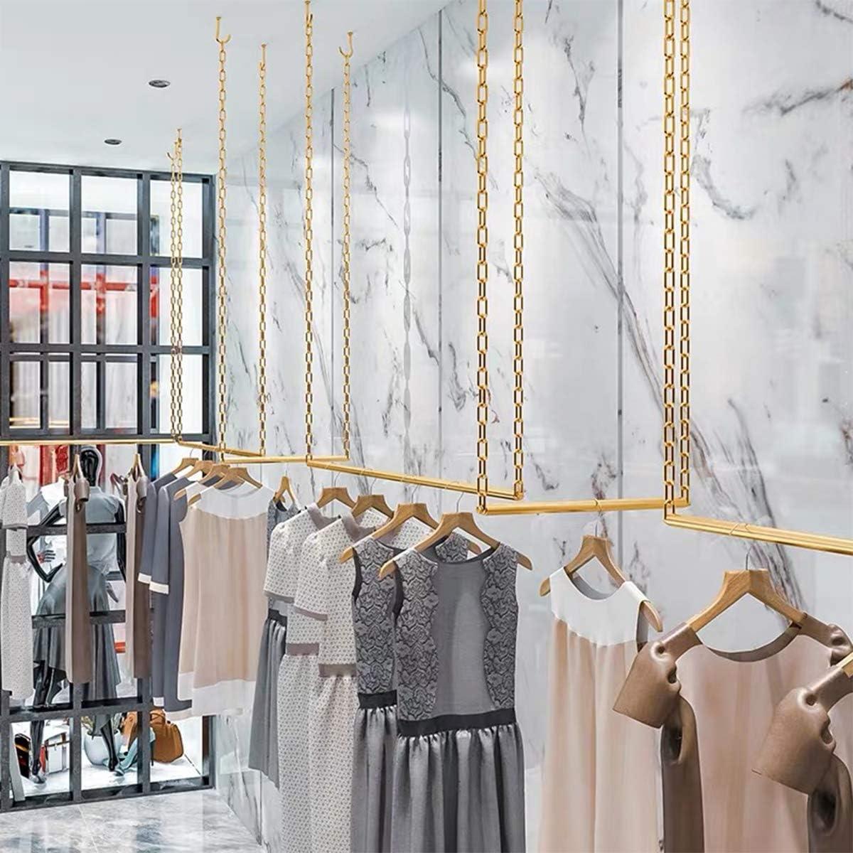 Gold Round Tube, 24 L FURVOKIA 2 Pcs Adjustable Height Creative Iron Chain Clothing Hanging Racks,Clothes Storage Shelves Heavy Duty Metal Garment Rack,Retail Display Ceiling Hanger