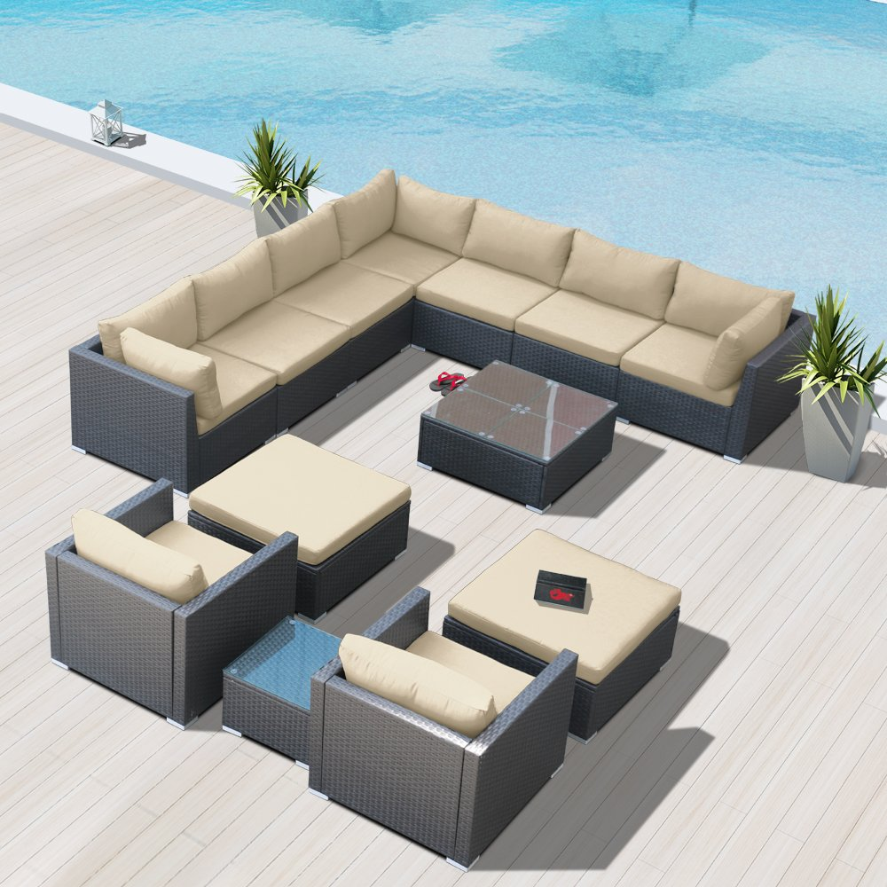Modenzi G13-U Outdoor Sectional Patio Furniture Espresso Brown Wicker Sofa Set (Light Beige)
