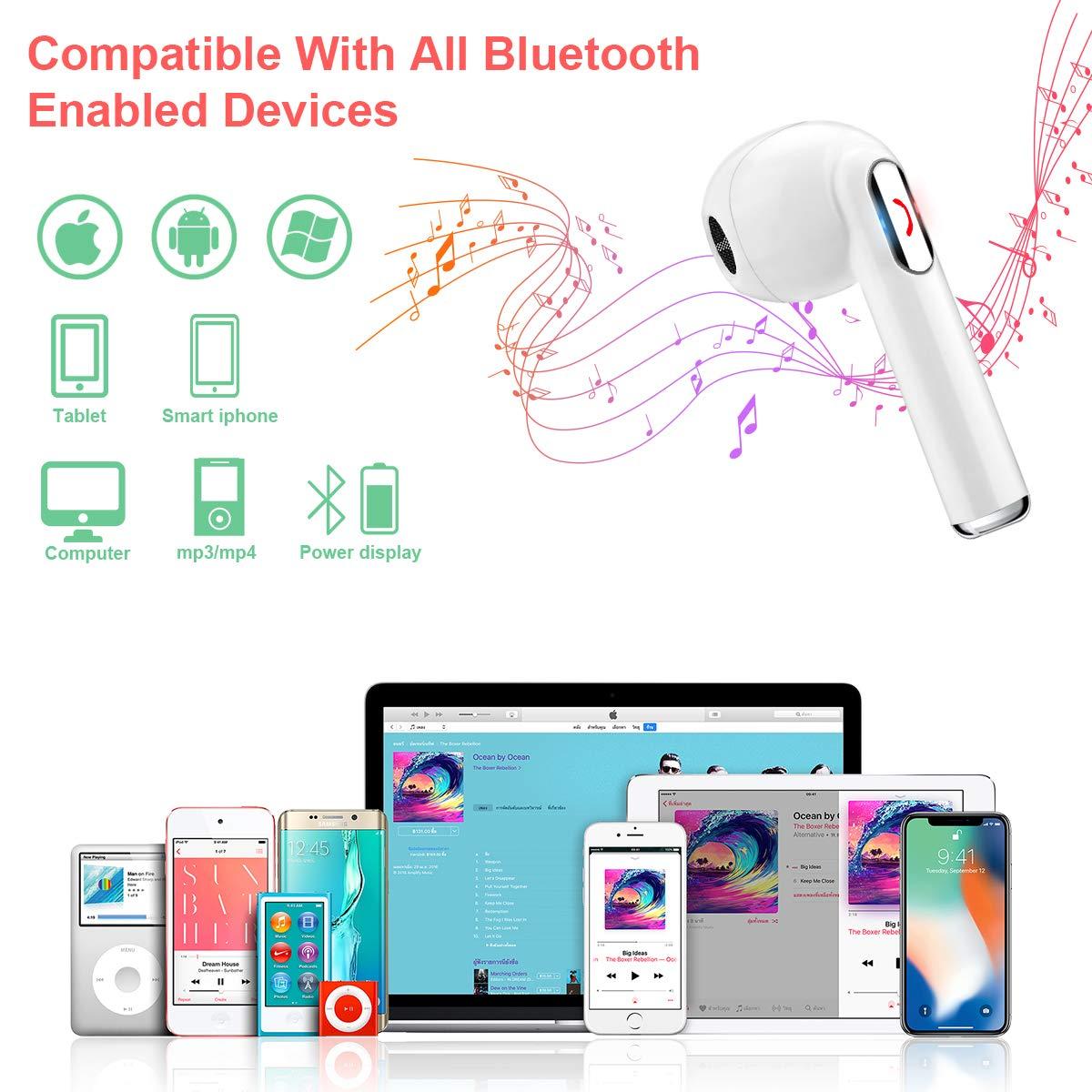 Cuffie Bluetooth,Auricolari Bluetooth Cuffie Wireless Auricolari Senza Fili Auricolari con Microfono Stereo Auricolare Wireless Sport Auricolari In Ear per iPhone,Samsung e altri Smartphone Bianca