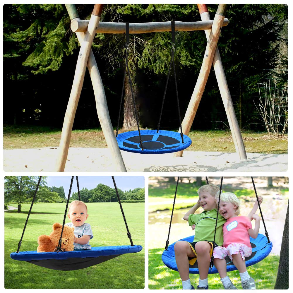 Tree Swing,Swing for Kids,40'' Large Round Outdoor Saucer Swing - 900D Oxford,500lbs Weight Capacity,2 Height Adjustable Straps & 2 Carabiners,Easy Installation - Ideal for Parties and Gifts by SilkRd (Image #7)