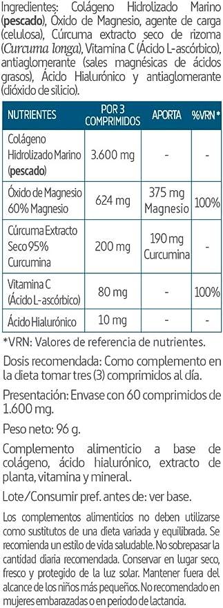 Confortflex® 1200 mg. 60 comprimidos con colágeno, cúrcuma, magnesio, ácido hialurónico y vitamina C.: Amazon.es: Salud y cuidado personal