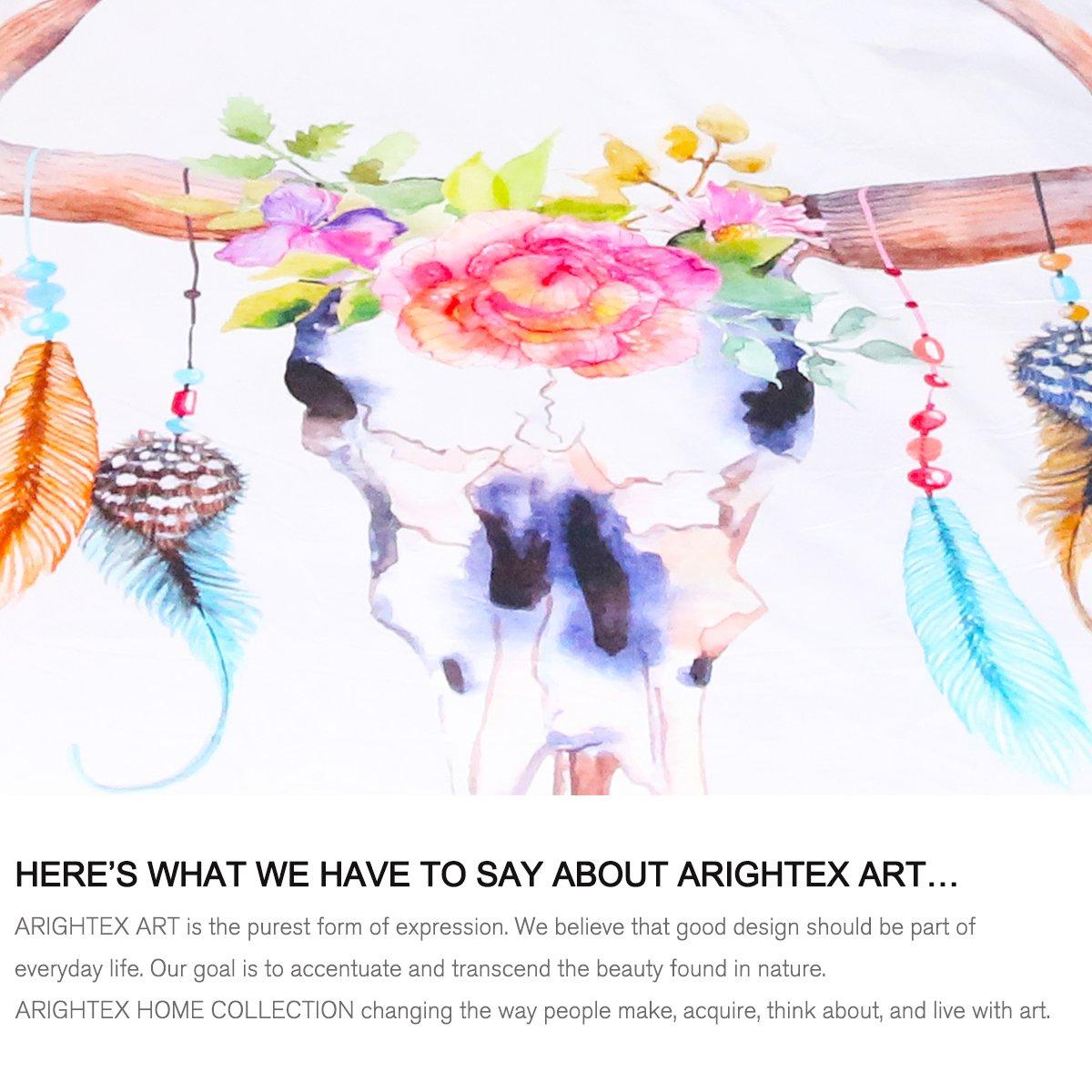 ARIGHTEX Boho Chic Western Bull Skull Blanket Watercolor Floral Cow Skull Blanket Reversible Sherpa Fleece Throw Blankets Kingtex 50 x 60 Inches
