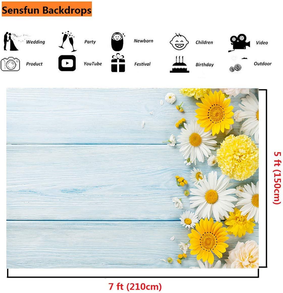 7x7FT Vinyl Photography Backdrop,Indigo,Daisy Like Flowers Photo Background for Photo Booth Studio Props