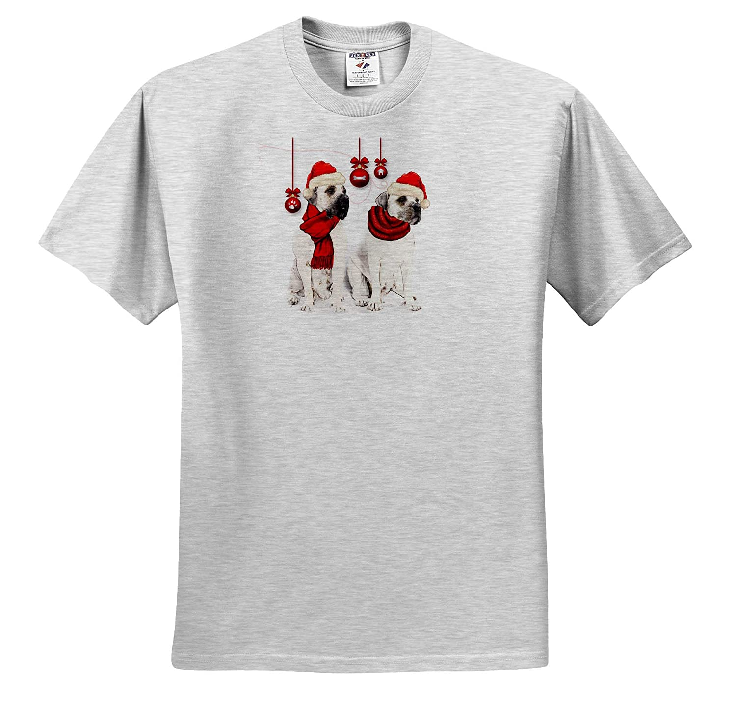 Pet Lover Christmas Bordeaux Dogs with Red Hats and Ornaments 3dRose Doreen Erhardt Dogs T-Shirts