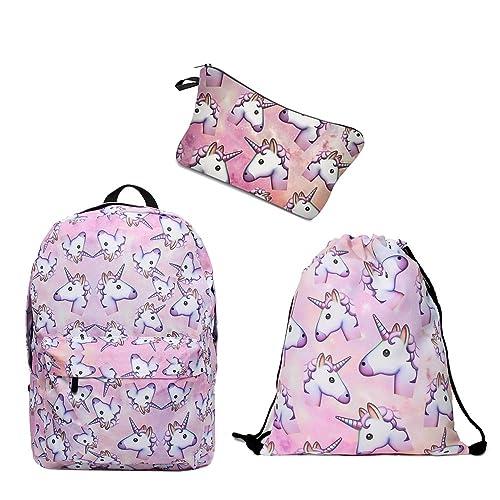 Leahs fashion Mochilas con Impresión Unicornio Rosa Niñas Regalo para Adolescentes Mochilas Lindo Set