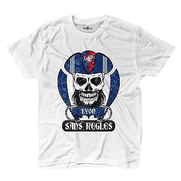 Camiseta camiseta hombre fútbol pirata Lyon Tifosi ultras Fans Sport Sans Regles 2, blanco,