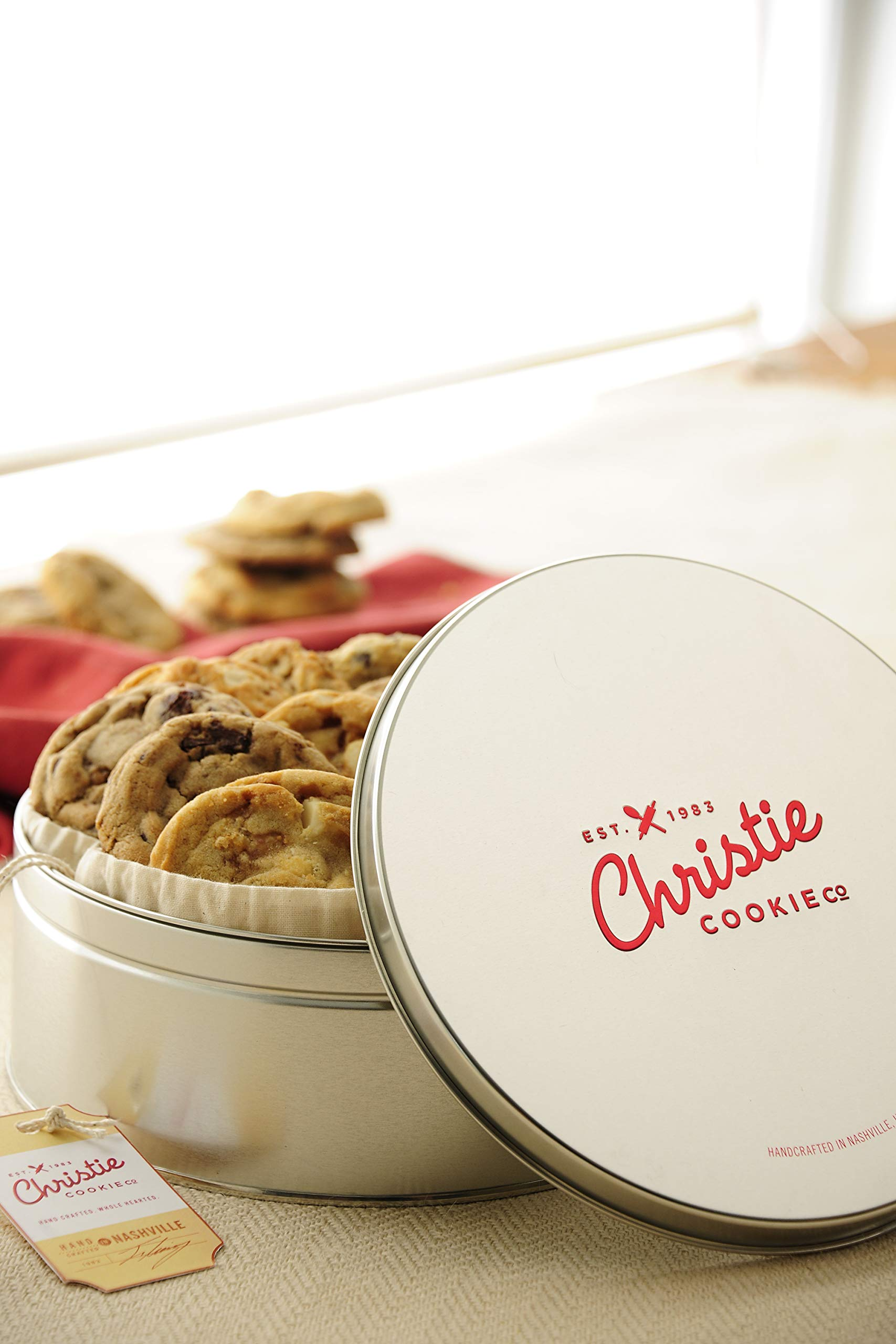 Christie Cookies, Gourmet Assorted Cookies, 18 Fresh-Baked Cookies in Silver Tin, No Added Preservatives, 100% Real Butter, Holiday & Corporate Gift Tin, Birthday Gift Idea for Men & Women