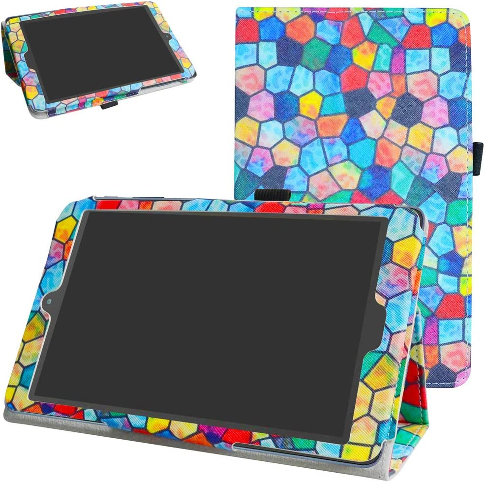 """Alcatel A30 Tablet 8"""" Case,Mama Mouth PU Leather Folio 2-Folding Stand Cover for T-Mobile Alcatel A30 8-inch Tablet Model 9024W 2017 Released,Stained Glass"""