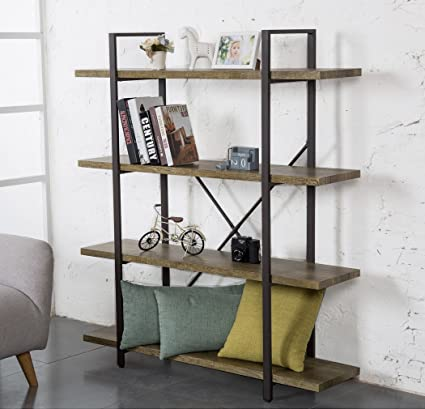 ok furniture 4 tier bookcase vintage industrial style bookshelves vintage green - Bookshelves Amazon