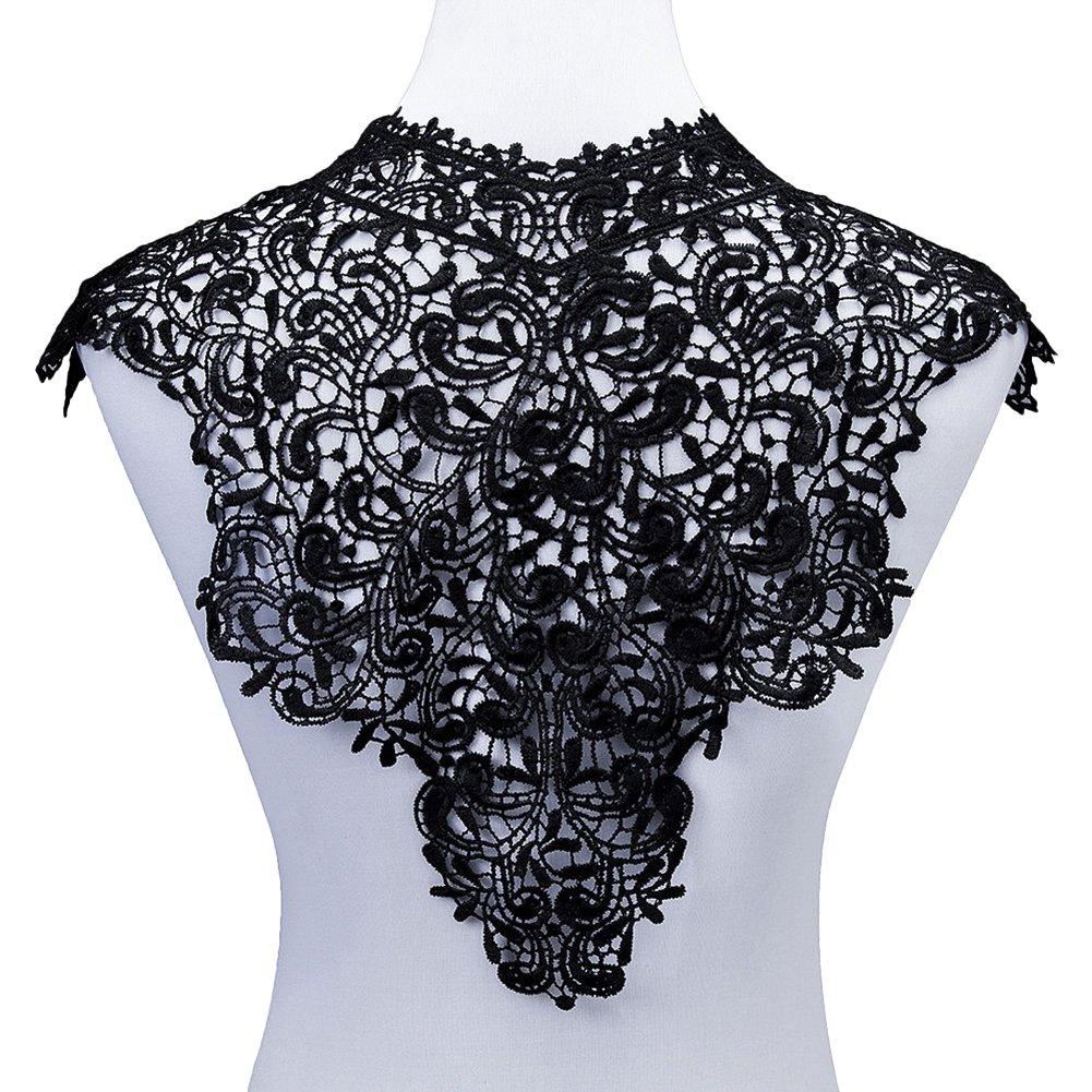 Gemini Mall® ricamato scollo pizzo floreale toppe collo collare Trim vestiti cucito applique Black - Style 1 Gemini_mall®
