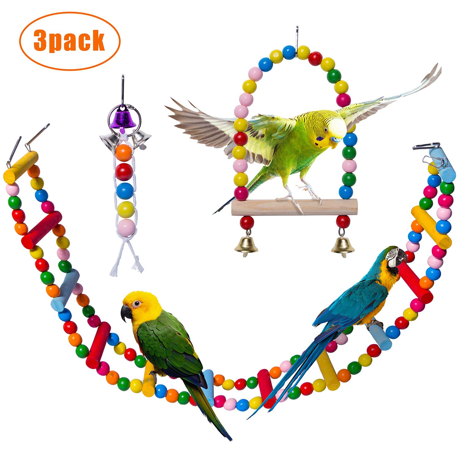 Petsvv Bird Parrot Toys, Natural Wooden Bird Toys Cage Ladder for Trainning with A Bird Swing and A Bird Bell, Pet Bird Ladder Toys for Cockatiel Conure Parakeet by Petsvv