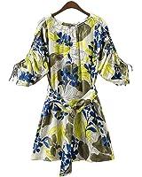 FDFAF Fashion Women Dress Floral Print Drawstring Three Quarter Sleeve O-Neck Sashes Mini Dresses