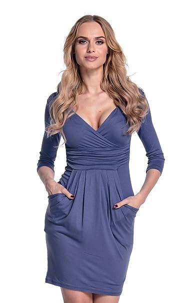 Glamour Empire Mujeres con Cuello en V Vestido de Lápiz con Bolsillos 236 (Azul Gris