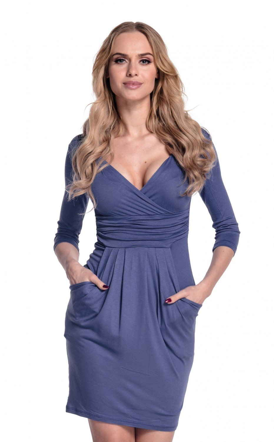 Glamour Empire. Women's Wrap V-Neck Jersey Pencil Dress with Pockets S-4XL. 236 (Blue Grey, US 8, M)