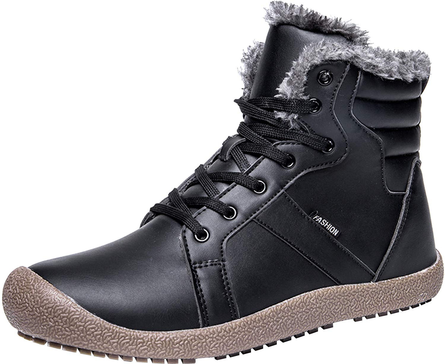 L-RUN Winter Snow Boots for Men Faux Fur Warm Snow Sneaker Outdoor Black 10 M US
