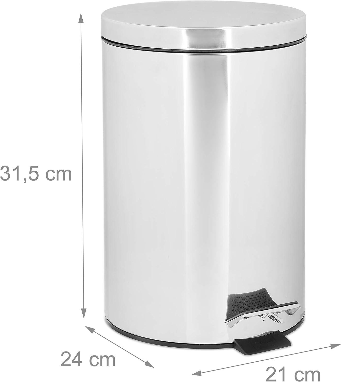 Relaxdays Treteimer 18 L aus Edelstahl H x D: 18,18 x 18 cm Abfalleimer in  Metall-Optik als Abfallbehälter und Tretmülleimer für Küche und als