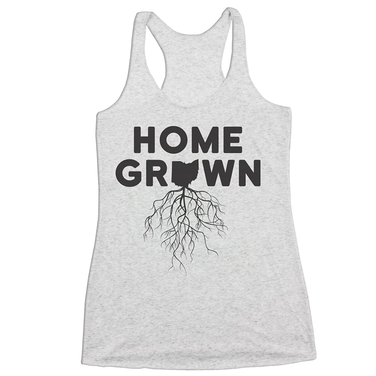 Home Grown Roots Ohio (Black) Racer Back Tri-Blend Tank Top X-Large White