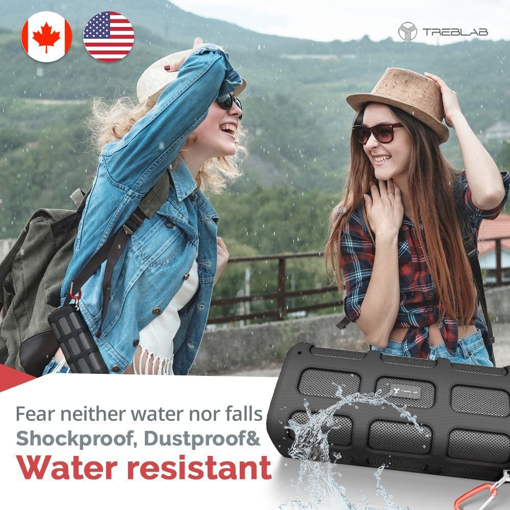 TREBLAB FX100 - Extreme Bluetooth Speaker - Loud, Rugged for Outdoors, Shockproof, Waterproof IPX4, Built-In 7000mAh Power Bank, HD Audio w/ Deep Bass, Portable Wireless Blue Tooth Microphone Mic by Treblab (Image #5)