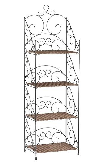 Amazon.com: Cuatro estantes de mimbre & Metal estantes por ...