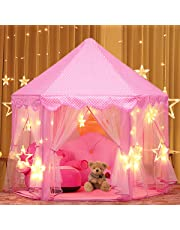Play Tent, Estela Pink Hexagon Princess Castle House Palace Tents Kids Castle Playhouse with Star Lights for Indoor and Outdoor, Great Gift for Girls, 53'' x 55'' (DxH)