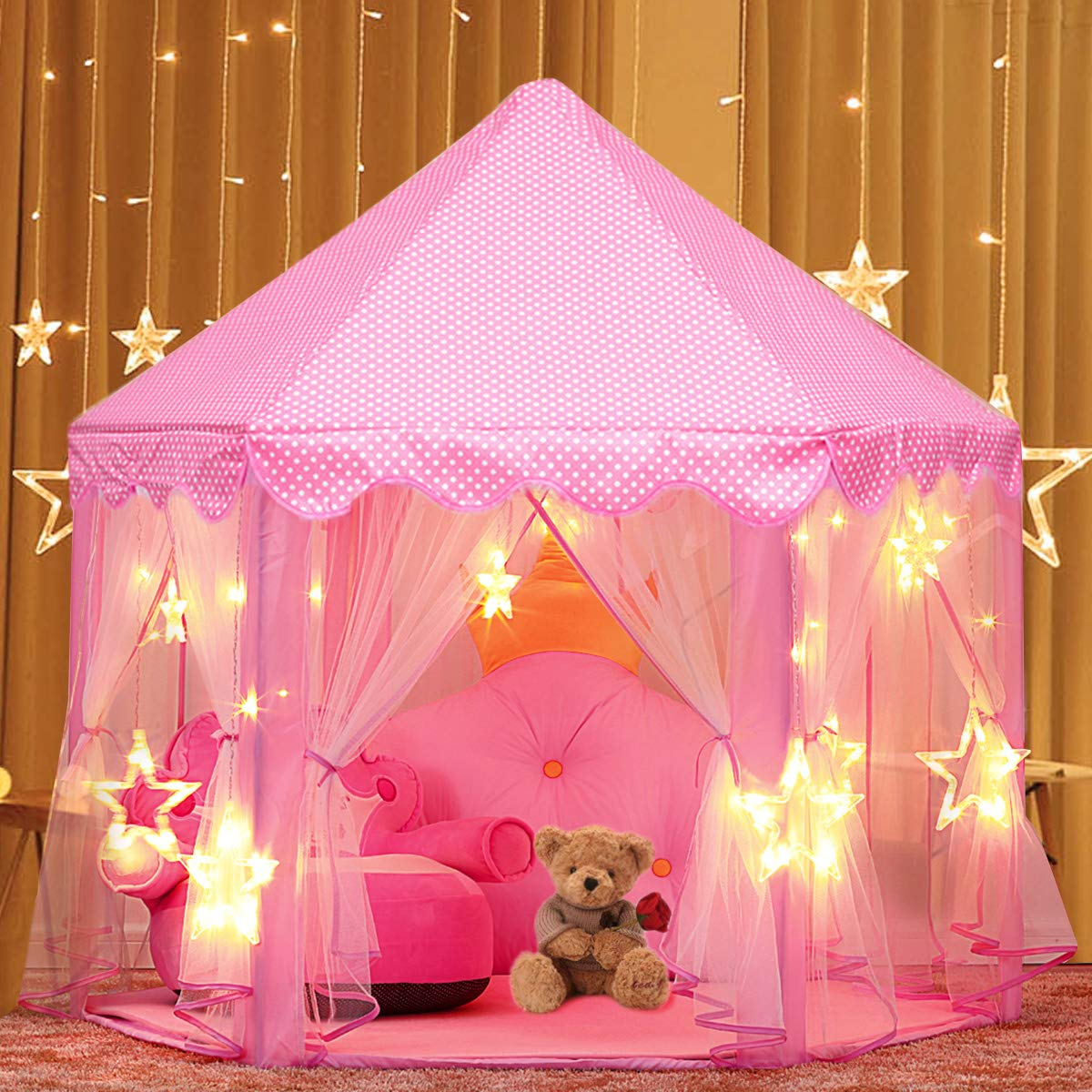 Play Tent, Estela Pink Hexagon Princess Castle House Palace Tents Kids Castle Playhouse with Star Lights for Indoor and Outdoor, Great Gift for Girls, 53'' x 55'' (DxH) Estela Store