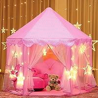 Estela Tente Princesse, Château de Princesse Tente avec LED Star Light de Jeu Maison de Jouet Château de Princesse de fées Tente de Jeu pour Les Jouets d'enfants en Bas âge Cadeaux, 53'' x 55'' (DxH)