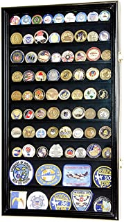 product image for L Military Challenge Coin Display Case Cabinet Rack Holder Stand Box w/UV Protection, Black Finish