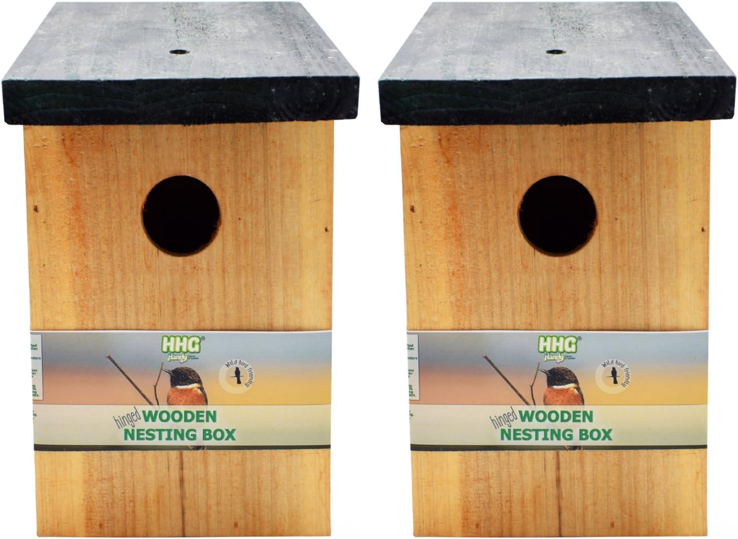 2 x Handy Home and Garden Caja Nido de Madera con Madera Tratada a Presión para Aves Silvestres y de Jardín HHGBF017