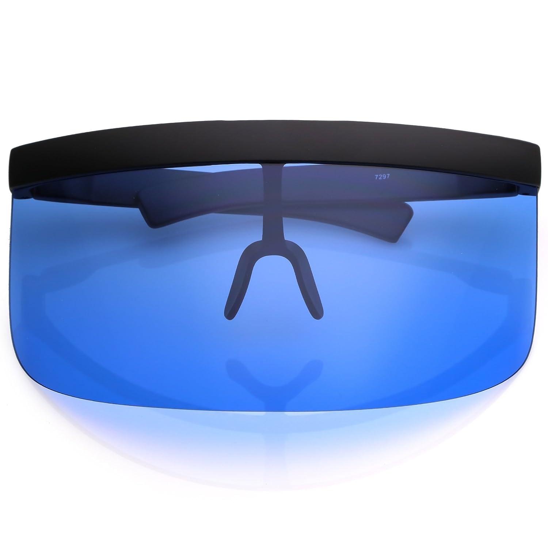 eb8d54321596 Amazon.com: sunglassLA - Futuristic Oversize Shield Visor Sunglasses With  Flat Top Colored Mono Lens 172mm (Blue): Clothing