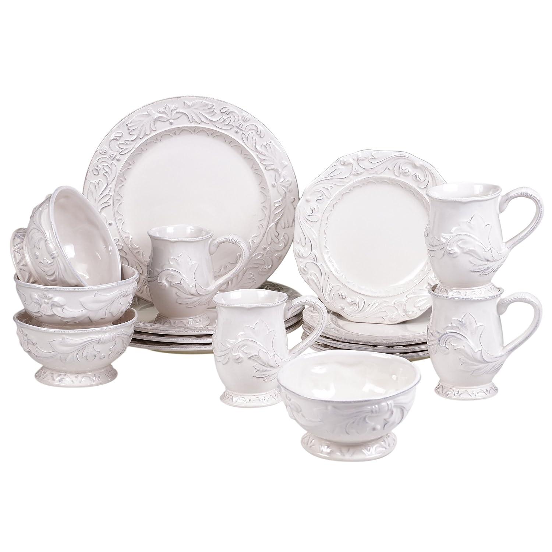 Ivory Firenze 16-Piece Dinnerware Set Service for 4 - ChristmasTablescapeDecor.com