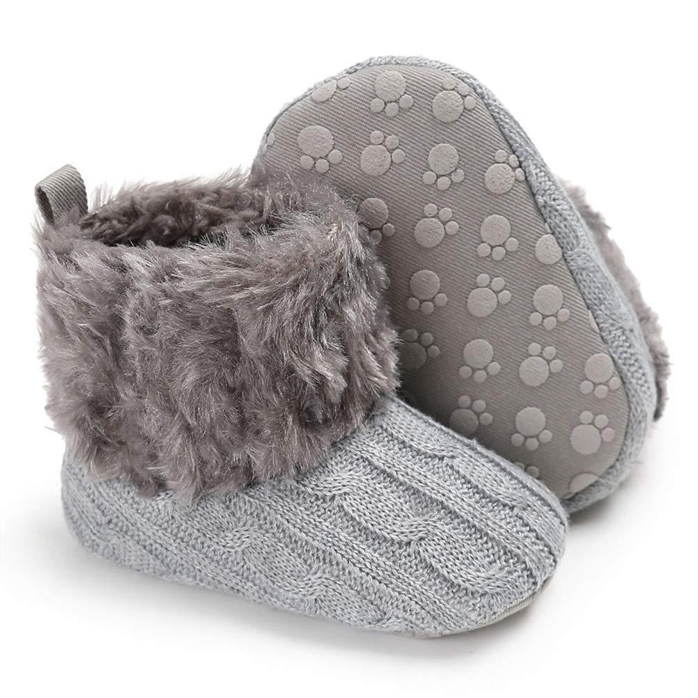 Eocom Baby Boy Girl Newborn Knit Soft Fleece Snow Booties Infant Toddler Kids Warm Winter First Walker Shoes 0-18 Months