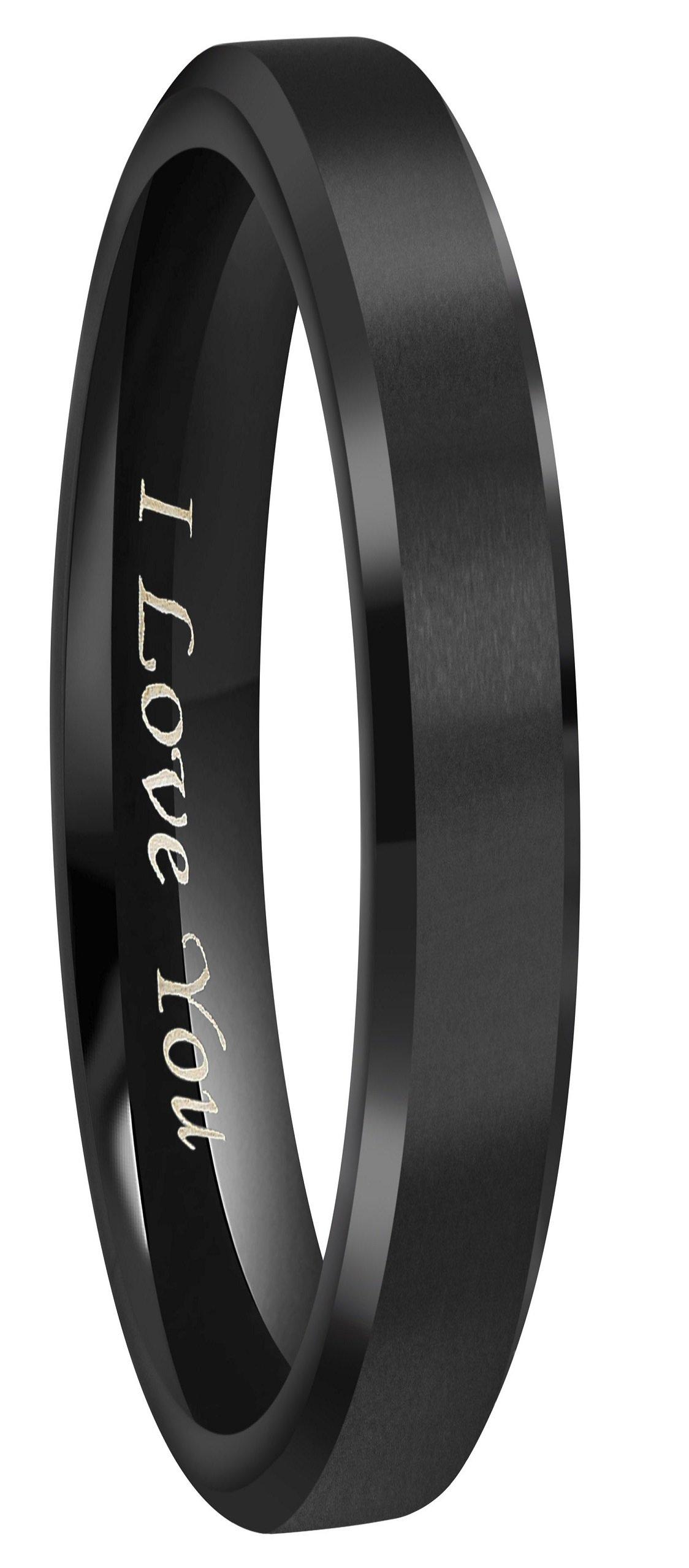 4mm/6mm/8mm Black Titanium Wedding Couple Bands Rings Men Women Matte Finish Beveled Edges Engraved ''I Love You'' Comfort Fit Size 4 To 16 (4mm,9)