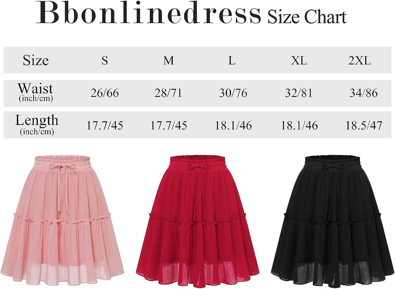Bbonlinedress Damen Rock R/öcke Sommerrock Minirock Basic Solide A-Linie Rockabilly Kurz R/öcke Skirts im Sommer