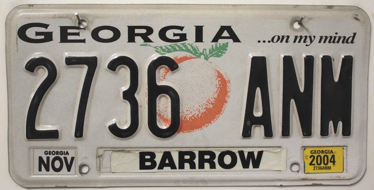 USA Nummernschild GEORGIA ~ US Kennzeichen Pfirsich Motiv ~ Blechschild